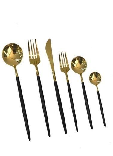 Sembol Siyah Parlak Altın 36 Parça Çatal Kaşık Bıçak Seti Renkli
